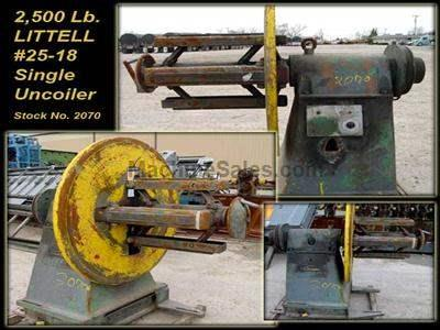 "2,500 Lb. x 18"" LITTELL #25-18 Single Uncoiler"