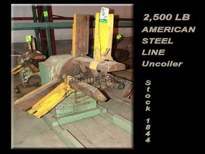 "2,500 Lb. x 20"" AMERICAN STEEL LINE Single Uncoiler"