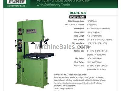 Vertical Variable Speed Bandsaw with Stationary Table - Model 600