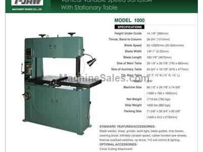 Vertical Variable Speed Bandsaw with Stationary Table - Model 1000