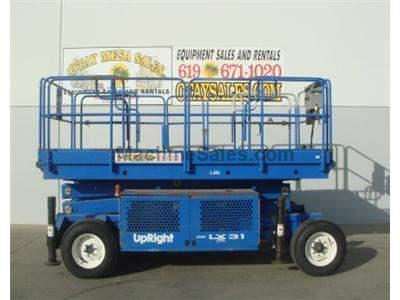Rough Terrain Scissor Lift, Electric, Pneumatic Tires, Deck Extension, Outriggers, 1750 Capacity