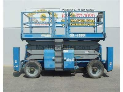Rough Terrain Scissor Lift, Dual Fuel, 43 Foot Platform Height, 49 Foot Working Height, Pneumatic Tires