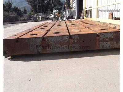"Used 2.6m x 4.6m x 300mm (8.5' x 15' x 12"") t-slotted cast iron floor plate"