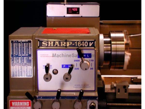 "16"" Swing 40"" Centers Sharp 1640LV ENGINE LATHE, D1-8 Camlock w/3-1/16"" bore; variable spindle spds"