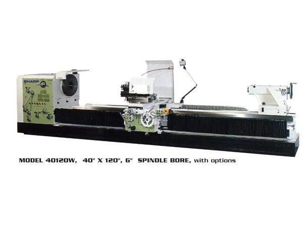 "40"" Swing 120"" Centers Sharp 40120W Big Hole ENGINE LATHE, 30 HP, Spdl Bores Up to 12.5"""