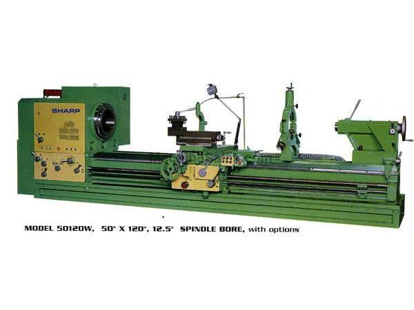 "50"" Swing 120"" Centers Sharp 50120W Big Hole ENGINE LATHE, 30 HP, Spdl Bores Up to 12.5"""