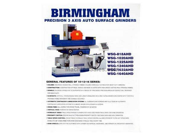 "16"" Width 32"" Length Birmingham WSG-1632AHD 3 Axis Automatic SURFACE GRINDER, Magnetic Chuck Included"
