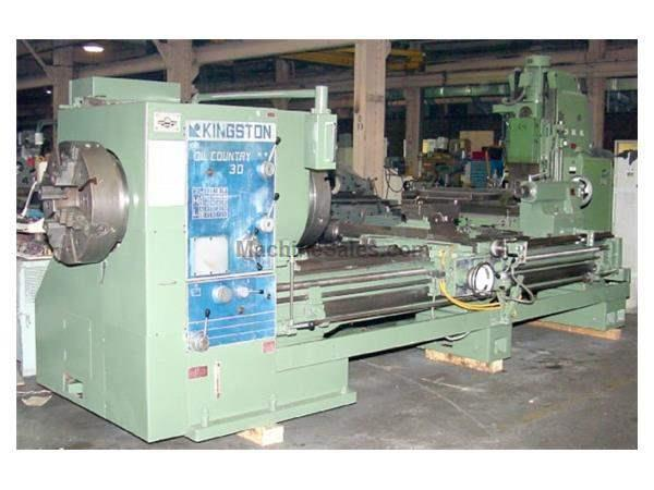 "12.5"" Hole 30"" Swing Kingston HK3000 ENGINE LATHE, Inch/Metric,Taper,(2) 4-Jaw Chucks, Air Kick-Out,"