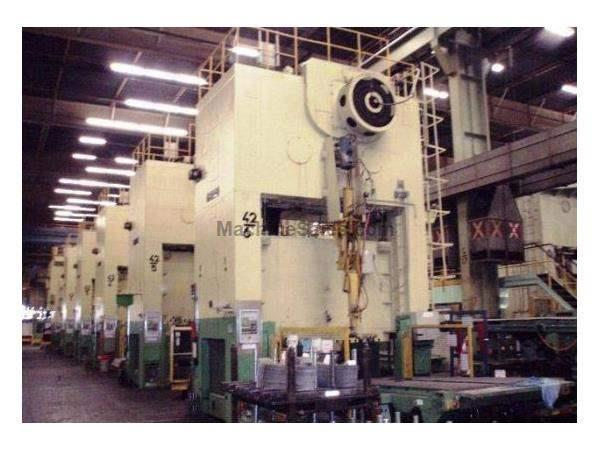 900 Ton, WEINGARTEN/KRUPP PRESS LINE, (7) PRESSES, DEEP DRAW, CUSHION, 3M TABLE