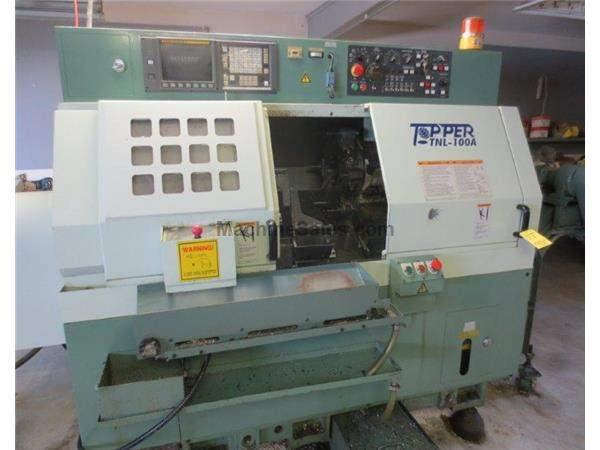 "14.6"" Swing 15.75"" Centers Topper TNL-100A CNC LATHE, Fanuc 0T, Barfeed, Parts Catch, Chip Conv"