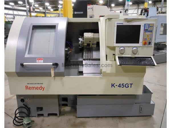 "New Remedy K-45GT Slant Bed Gang Style CNC Lathe, 6"" Chuck, Centroid C"