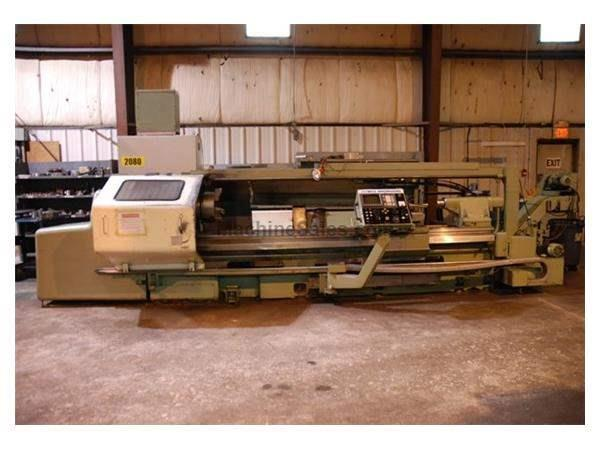 OKUMA LH-35 CNC FLAT BED LATHE RETROFITED IN 1995 BY OLYMPIA ENGINEERING