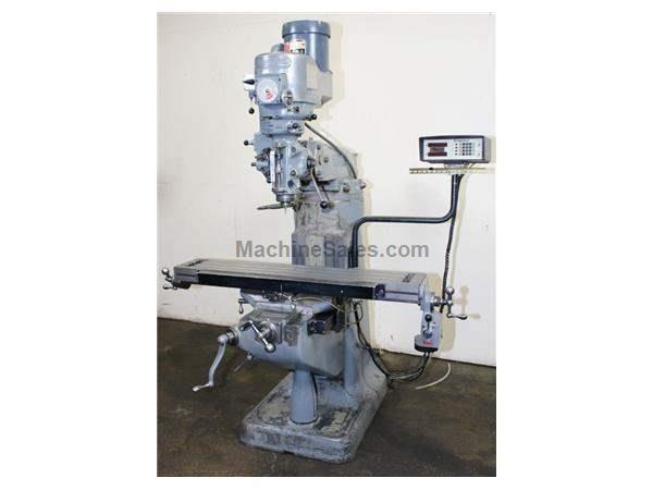 "48"" Table 1.5HP Spindle Bridgeport 2-J VERTICAL MILL, Vari-Speed, R-8,  ServoTable Feed, One Axis DRO"