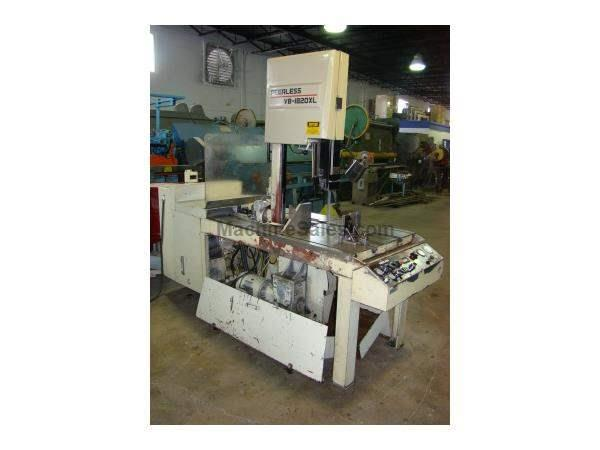 "18"" x 20"", PEERLESS, VB-1820XL, hyd. tilting column, 1"" blade, coolant, 1996"