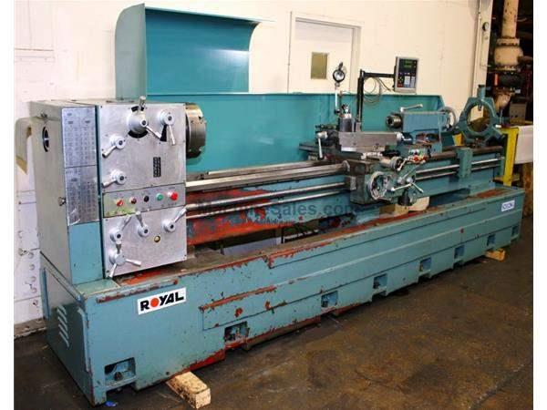 "21"" Swing 120"" Centers Royal S21120G ENGINE LATHE, Inch/Metric,Gap,3"" Hole,Newall DRO,6-Jaw,Steady,Al"