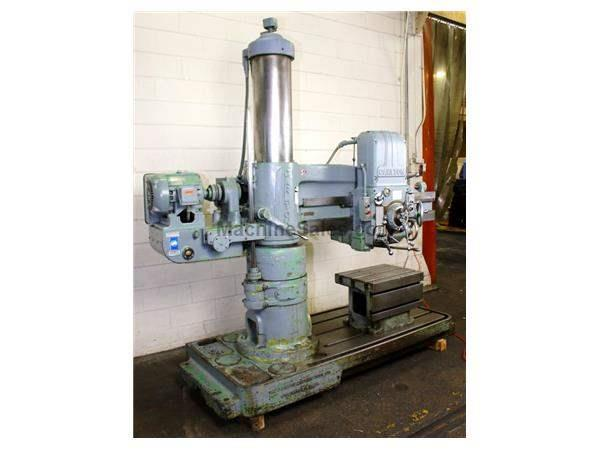 "4' Arm Lth 11"" Col Dia Carlton 1A RADIAL DRILL, Power Elevation , Box Table, #4MT, 5 HP,"