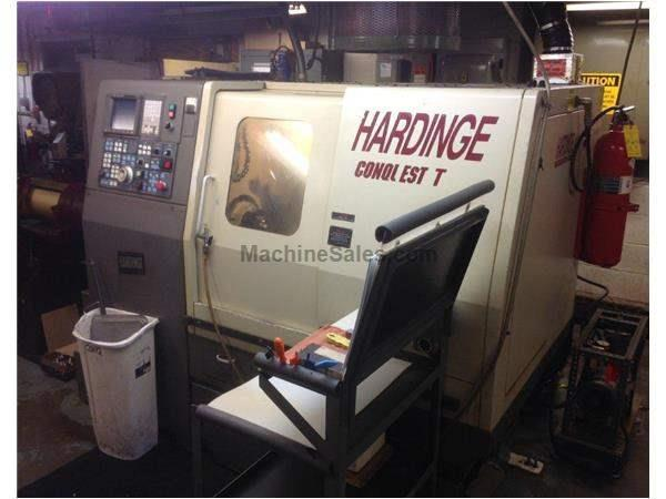 "21.2"" Swing 13.9"" Centers Hardinge Conquest T-42 Big Bore CNC LATHE, Fanuc 18T, Live Tool, Tailstck. Harmatic Barfeed"