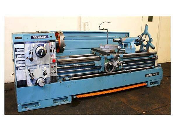 "24"" Swing 80"" Centers Victor 2480 ENGINE LATHE, Inch/Metric,Gap,4-Jaw,Steady, 15 HP,"