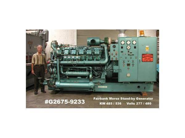 FAIRBANK MORSE MODEL 500T-12V STAND BY DIESEL GENERATOR: STOCK: #58852
