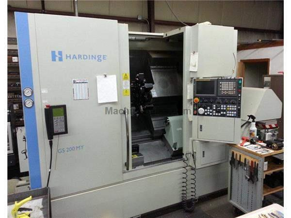 "15"" Swing 21.3"" Centers Hardinge GS200MY CNC LATHE, Fanuc 18iT, 1000Hrs., Live Tool, Y-axis, Barfeed"