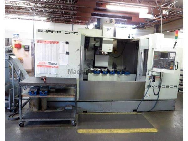 "60"" X Axis 30"" Y Axis Sharp SV-6030 VERTICAL MACHINING CENTER, Fanuc OI-MC Control, 10,000RPM, 32 ATC ,Box Way"