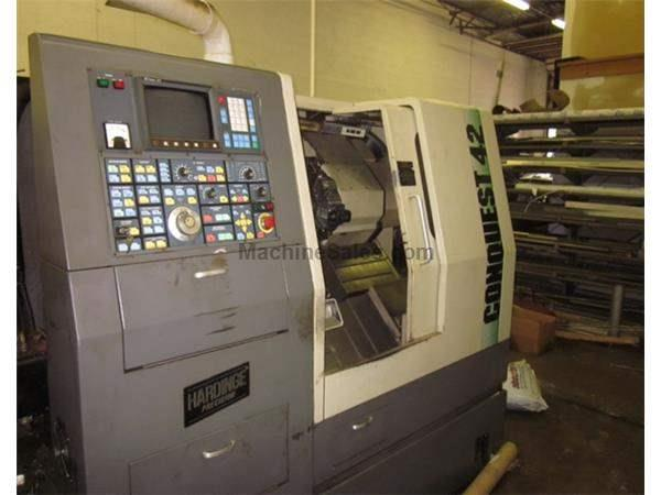 "19.5"" Swing 0.75"" Centers Hardinge Conquest 42 CNC LATHE, Fanuc 0T, Live Tool, Tailstck., LNS barfeed"