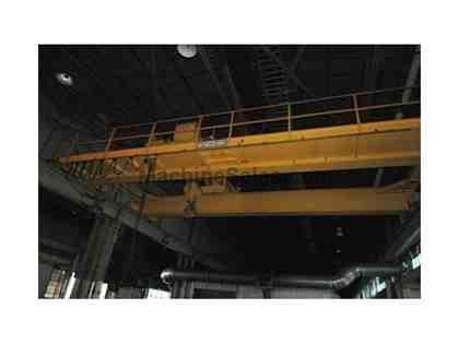 50 TON x 37' SPAN P & H TOP RUNNING DOUBLE GIRDER OVERHEAD BRIDGE CRANE