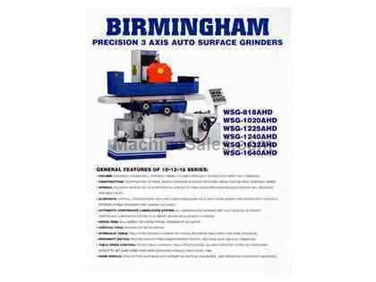 "12"" Width 25"" Length Birmingham WSG-1225AHD 3 Axis Automatic SURFACE GRINDER, Magnetic Chuck Included"