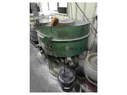 4 Cu. Ft. Sweco FMD-4LR VIBRATORY FINISHER, INTERNAL SEPARATOR, ROUND BOWL, LINER IS GOOD