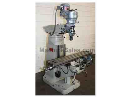 "48"" Table 1HP Spindle Bridgeport J-Head VERTICAL MILL, R-8, Trav-A-dials for X&Y Travels, Bijur"