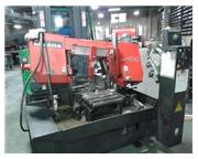AMADA HK-400 SEMI-AUTOMATIC MITRE BASE HORIZONTAL BAND SAW, MFG:2003