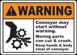 conveyor belt warning label