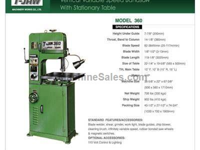 Vertical Variable Speed Bandsaw with Stationary Table - Model 360
