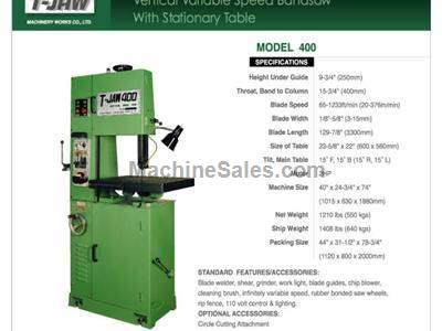 Vertical Variable Speed Bandsaw with Stationary Table - Model 400