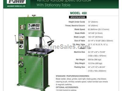 Vertical Variable Speed Bandsaw with Stationary Table - Model 450