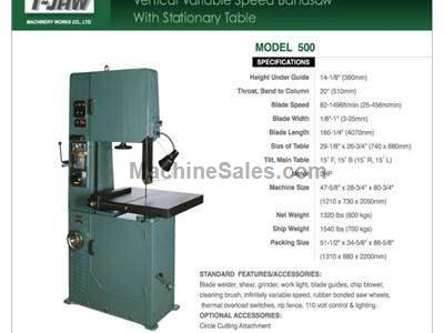 Vertical Variable Speed Bandsaw with Stationary Table - Model 500