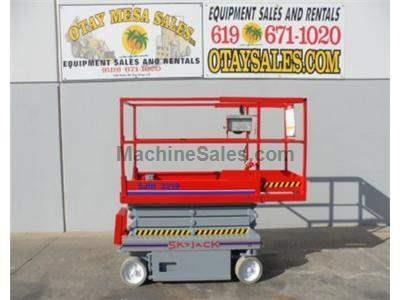Electric Scissor Lift, Narrow 32 Inch Width, 25 Foot Working Height, Deck Extension