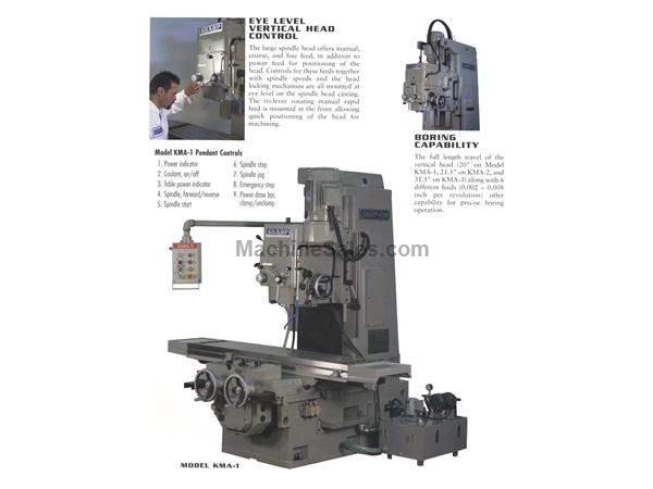 "67"" Table 10HP Spindle Sharp KMA-1 Vertical Mill VERTICAL MILL, Bed-Type, 50 Taper, 10HP"