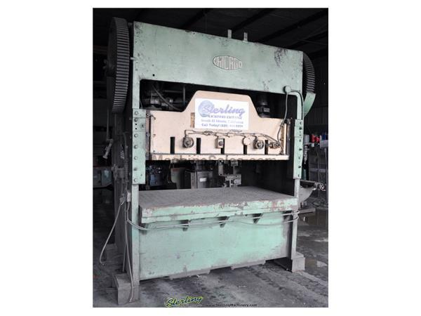 "150 Ton, Chicago , straight side double crank punch press, 84"" x 48"" bed, air clutch & brake, dual palm control, #A1968"