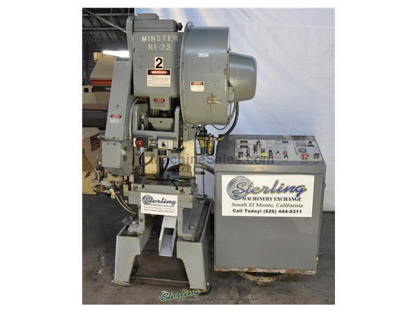 "22 Ton, Minster # B1-22 , high speed punch press, 20"" x 12"" bed, 0-850 SPM, A/C & brake, Vamco feeder V-667 Mark 3 w/auto lube, #A2497"