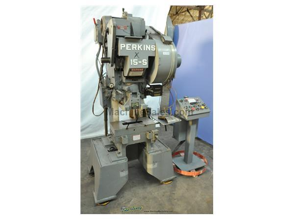 "15 Ton, Perkins # 15-S , high speed punch press, 20"" x 10"" bed, 500 SPM, A/C & brake, roll feed, batch counter, emergency stop, #A2499"