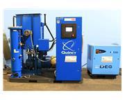 50HP Motor Quincy QSI-245i AIR COMPRESSOR, Rotary Screw, MTA DEG Air Dryer, 200 Gallon Tan