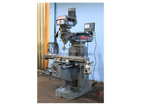 "48"" Table 3HP Spindle Clausing-Kondia FV-1 VERTICAL MILL, Vari-Speed, R-8, Acurite 3-Axis DRO,Pwr Table Feed"
