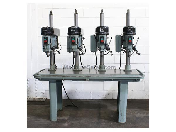 4 Spindles Delta 15-270 MULTI-SPINDLE DRILL, Production Table, 1/2 HP Heads, #33JT,Drill Chucks