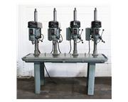 4 Spindles Delta 15-270 MULTI-SPINDLE DRILL, Production Table, 1/2 HP Heads, #33JT,Drill C