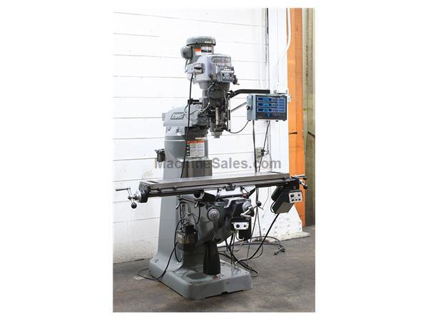 "48"" Table 2HP Spindle Bridgeport Series I VERTICAL MILL, Vari-Speed, Acurite DRO,B'port Pwr Fds,Long  Cro"