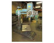 "4'-9"" Carlton # 0A , radial arm drill, tilting box table, power elevation, 3 HP, #707"