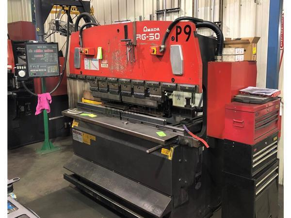 Used AMADA RG50 55 Ton CNC Up-Acting Hydraulic Press Brake for sale