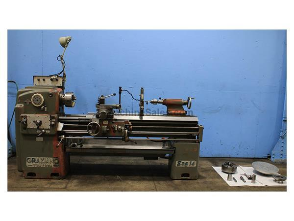 "14"" Swing 60"" Centers Graziano SAG-14 ENGINE LATHE, Inch/Metric, Gap, 34 Jaw, Steady,5.5 HP,HardBed"