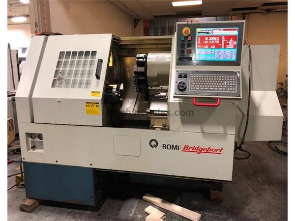 "14"" Swing 21.26"" Centers Bridgeport-Romi POWER PATH 15 CNC LATHE, DX-32 Control,"